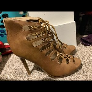 Tan lace up high heels size8